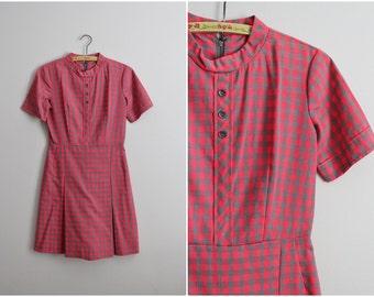 Vintage 60s Checkers Romper Shorts - Dress. Playsuit. Mod Jumpsuit. Size S/M