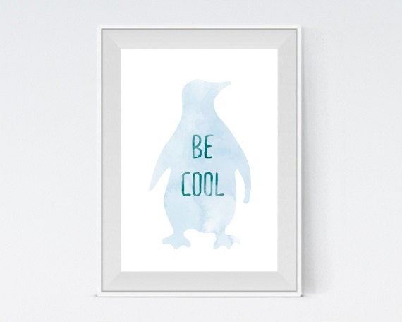 "Inspirational Art ""Be Cool"" Typography Print Motivational Wall Decor Watercolor Poster Home Decor Quote Minimalist"