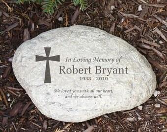 Engraved Memorial Garden Stone, garden decor, garden decoration,  memorial garden, cross, sympathy gift, remembrance -gfyL528114P