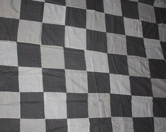 Vintage 1920's Quilt Top Shirting Fabric Checker Pattern