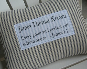 Personalized baby pillow etsy ca personalized baby pillow baby gift baby shower ticking stripe pillow custom name negle Choice Image