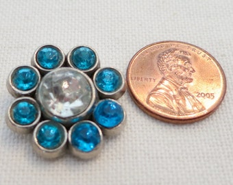"""1 Vintage button, shank back 0.75"""" ins across, central clear stone, outer rim is a circle of turquoise blue smaller stones. CLAM15.3-3.21-22"""