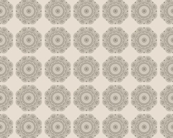 LAMINATED cotton fabric by the yard - Medallion Gray Lost & Found 2 yardage  Lost2- Approved for children's products