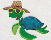Turtle in Sunglasses Embroidered Flour Sack Hand/Dish Towel