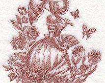Umbrella Girl in Garden Embroidered Flour Sack Hand/Dish Towel