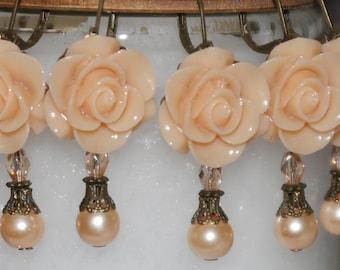 Rose Dangle Earrings - Peach Rose Earrings