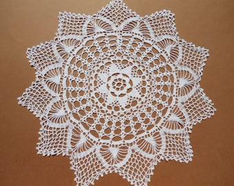 White crochet doily, star doily, lace, 13