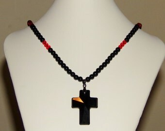 Cross Necklace, Black and Red Necklace, Glass Beads, Round Beads, Black Cross Necklace