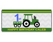 Tractor Boy Birthday Personalized Candy Bar Wrappers - 1st, 2nd, 5th Birthday Party Favors - Set of 12