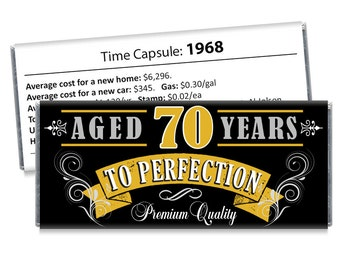 Set of 12 - Aged to Perfection Birthday Candy Bar Wrappers - Gold, Silver Adult Milestone Favors 30th, 40th, 50th, 60th, 70th, 80th Any Age