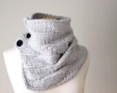Knit Pattern Cowl - Geometric Cowl, Grey
