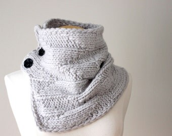 Knit Pattern Cowl - Geometric Cowl, Grey