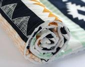 Arizona Aztec Minky Baby Blanket, Fitted Crib Sheet, Changing Pad Cover, Peach Gold Mint Navy Nursery Bedding, Arrows Arid Horizon