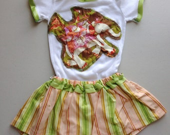 CLEARANCE PRICE! Only 1 left!! Baby's Green and Pink Elephant Onesie with Coordinating Green and Pink Striped Skirt