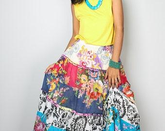 Boho Skirt / Patchwork Skirt / Maxi skirt : Boho Patchwork Collection No.1