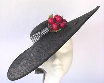 Black Martini- Hat straw black gingham cherries style vintage 1940 1950 wide-brimmed