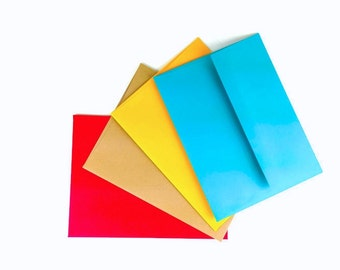 A2 Block color Wedding Stationery envelopes with gummed square flap - Red Teal Yellow Natural Kraft. Choose your colors
