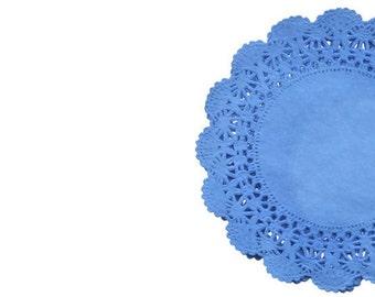 Royal Blue Lace Paper Doilies | Cambridge doily, Blue Wedding Decor, Royal Blue Weddings, Bridal Showers, Tea Party decor | paper doilies