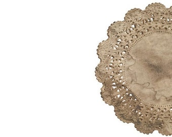 Walnut stained Lace Paper Doilies | Cambridge Tea party round doilies | Vintage Wedding Doilies, Party Doily