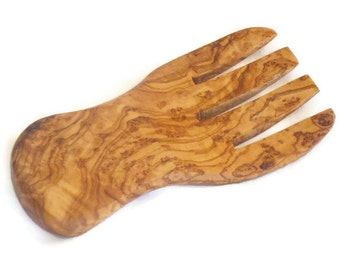 Olive Wood salad server / Olive Wood serving hand, Kitchen Cooking Utensils Tools
