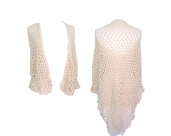 Beach Shawl Beige Open Knit Crochet