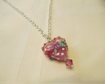 Pink Heart Lampwork Bead Pendant Necklace