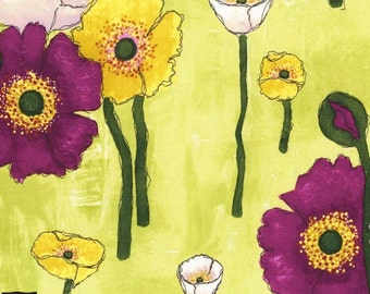 Vignette - Gathered Poppies - Lime Green by Laura Gunn from Michael Miller