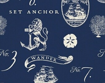 Hidden Cove - Sea Emblems Navy by Sue Schlabach from Windham Fabrics