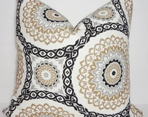 Black Silver Grey Tan Floral Geometric Medallion Print Decorative Pillow Cover Throw Pillow Cover 18x18