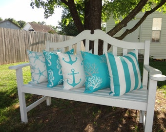 OUTDOOR Nautical Decorative Pillow Covers Starfish Seahorse Stripe Coral Blue/White Beach Ocean Pillow Covers All Sizes