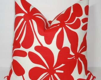 OUTDOOR Pillow Cover Large Red Floral Pillow Cover Deck Patio Pillow Cover 18x18