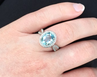 Aquamarine and Diamond Ring in 14k White Gold (10x8mm) Unique Engagement Ring Aquamarine & Diamond Halo-Style Ring