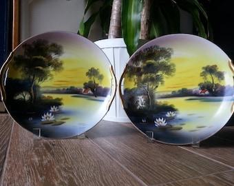 1950's Noritake Decorative China Cake Plates w/ Stands