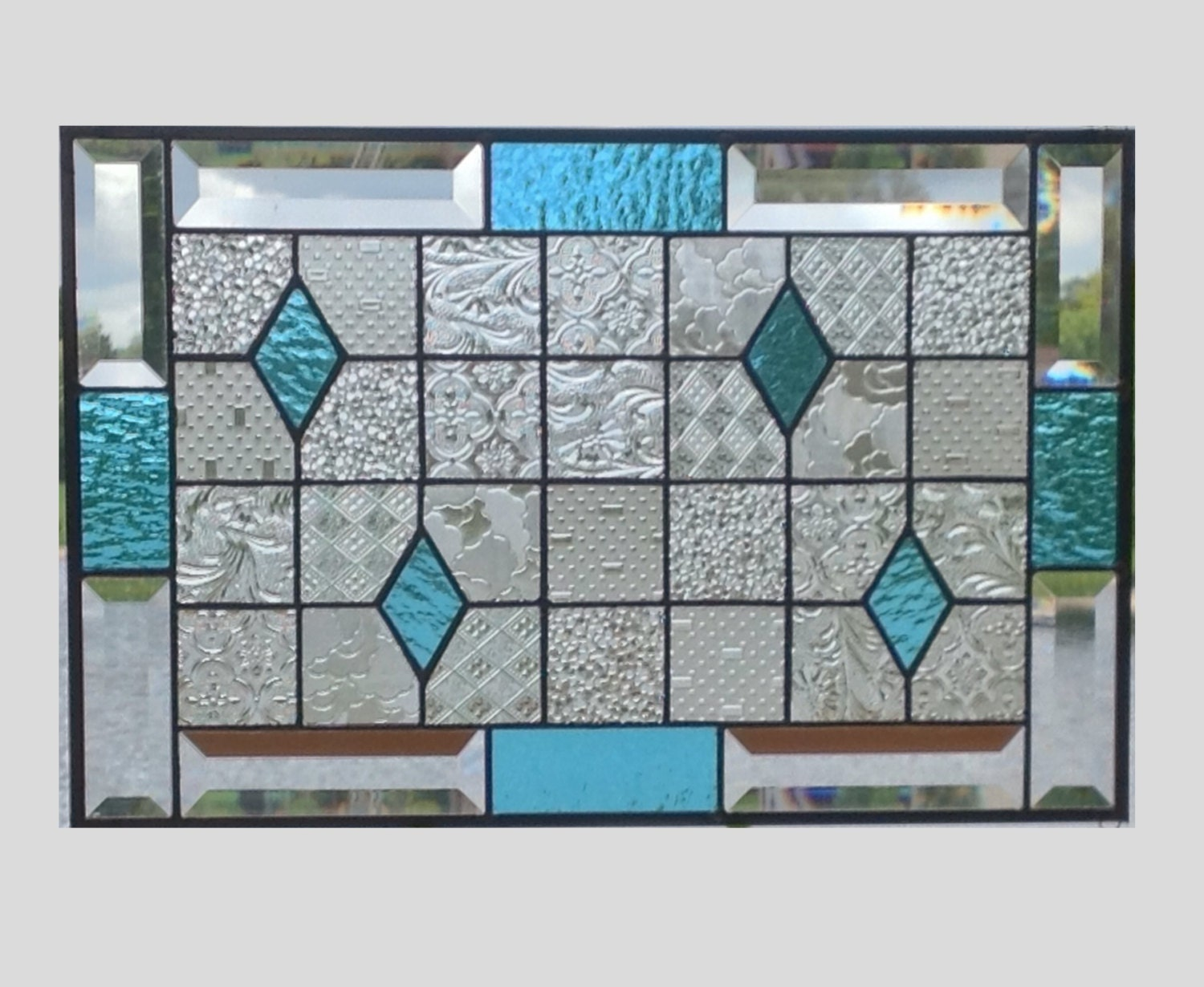 Geometric stained glass panel window hanging clear blue by ...
