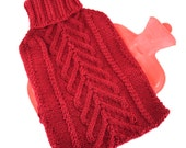 Spruce Tree Cabled Knit Hot Water Bottle Cozy
