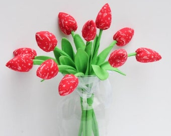 Fabric tulip flowers for mom and girl dozen of tulips red Valentines day bouquet gift for birthday bridal shower - gift for her and him