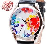 Watercolor Flowers Watch, Women Gifts, Unique Womens Watches, Women Watches Leather, Unique Gifts for Women, Birthday Gifts - Free Shipping