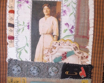 Art quilt/Story Quilt/Vintage textiles/Vintage photos/Fabric collage/Assemblage/Art/Quilts/Recycled fabrics/Applique/Wall hanging/Textiles