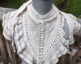 Hand Knit Triangle Scarf