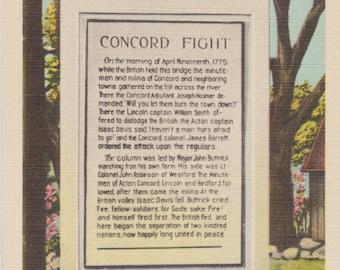 Concord, Massachusetts, Tablet of Concord Fight, North Bridge - Linen Postcard - Unused (G1)