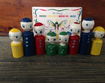 "RARE Vintage Wooden Toy - The Story of ""Eenie Meanie Mine-ee Moe"