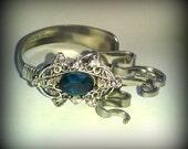 Fork Bracelet, Fork Jewelry, Fork Bracelets, Vintage Rhinestone Jewelry, Stainless Steel Jewelry, Stainless Steel Bracelet, Blue Rhinestone