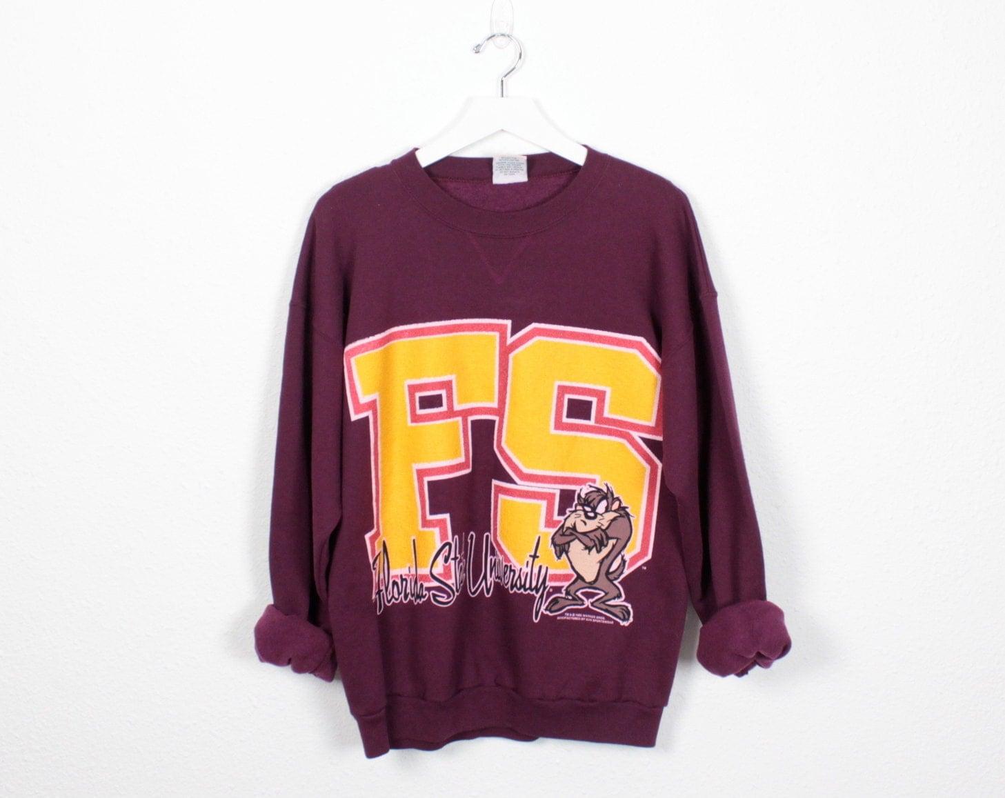 vintage fsu sweatshirt garnet gold burgundy tasmanian