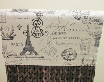 Chair Back Slipcover or Cap, French Stamps in Black, Ready to Ship, French Country, Cottage Chic