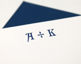 Custom Monogram Wedding / Couples Letterpress Notecards/Stationery - Set of 20 - Glyptic