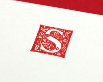 Custom Monogram Letterpress Notecards/Stationery - Set of 20 - Massey