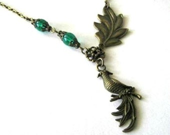 Bronze bird necklace jewelry, brass leaf necklace, teal beads necklace bird charm with green beads