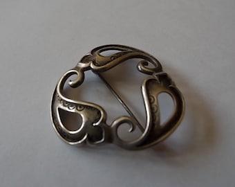 Vintage Silver Waves Scottish Brooch Pin-HALLMARKED