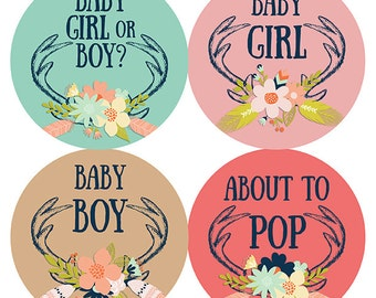 FREE GIFT Pregnancy Stickers, Weekly Pregnancy Stickers, Baby Bump Stickers, Belly Bump Stickers, Pregnancy Belly, Flowers, Antlers Woodland