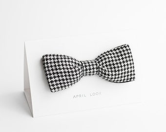 Black and white bow tie, houndstooth bow tie - double sided